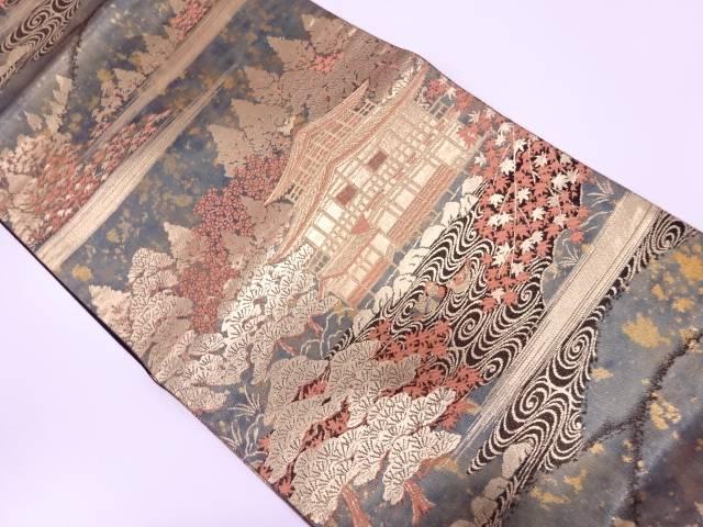 【IDN】 未使用品 服部織物製 こはく錦二重箔織金閣寺風景模様織出し袋帯【リサイクル】【着】