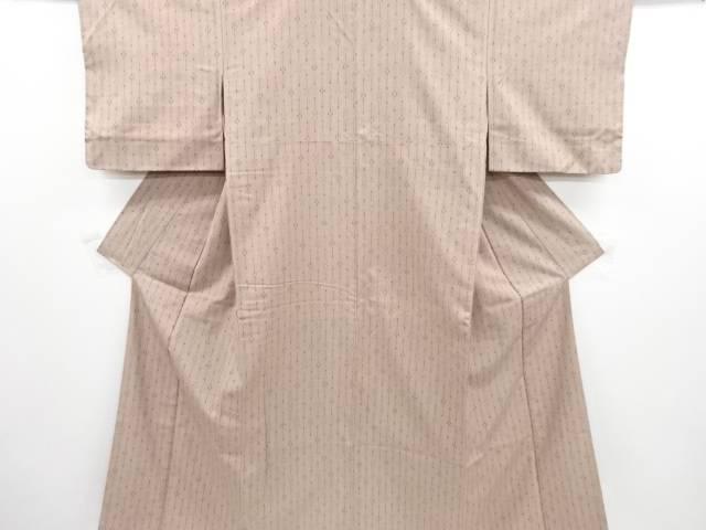 【IDN】 縞に花模様織り出し手織り紬着物【リサイクル】【中古】【着】