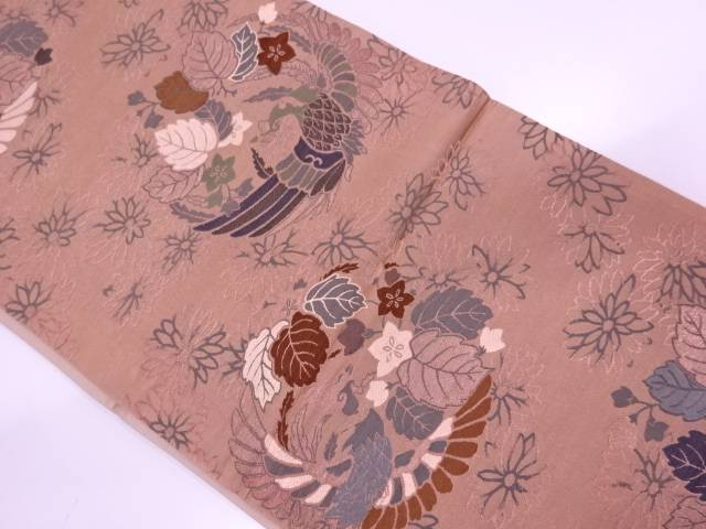 【IDN】 鳳凰に草花模様織出し袋帯(着用可)【アンティーク】【中古】【着】