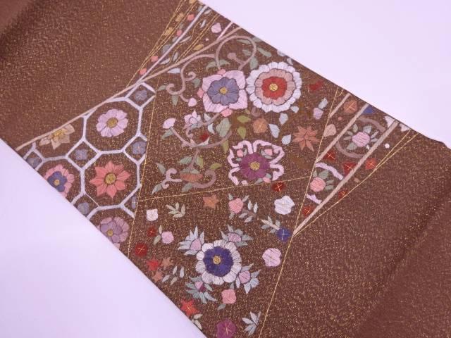【IDN】 未使用品 蘇州刺繍花唐草模様袋帯【リサイクル】【着】