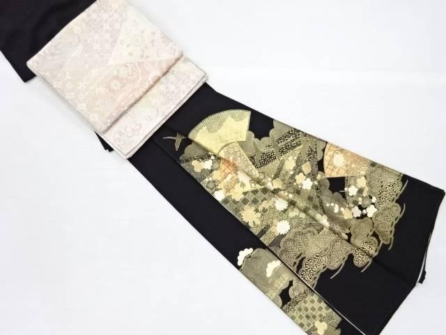 【IDN】 金彩地紙に花・群鶴模様刺繍留袖・佐賀錦袋帯セット(比翼付き)【リサイクル】【中古】【着】