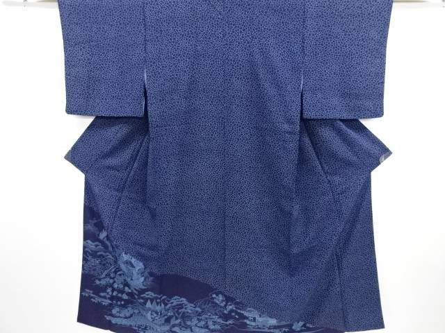 【IDN】 本藍型染石畳に風景模様訪問着【リサイクル】【中古】【着】