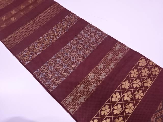【IDN】 川島織物製 横段に花唐草模様織出し袋帯【リサイクル】【中古】【着】