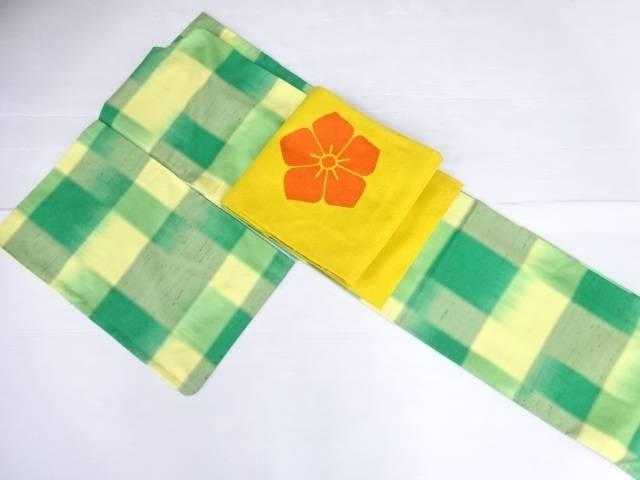 【IDN】 格子織り出し手織り節紬着物・名古屋帯セット【リサイクル】【中古】【着】