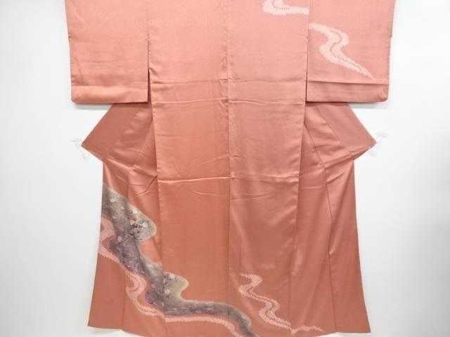 【IDN】 絞り流水に秋草模様刺繍訪問着【リサイクル】【中古】【着】