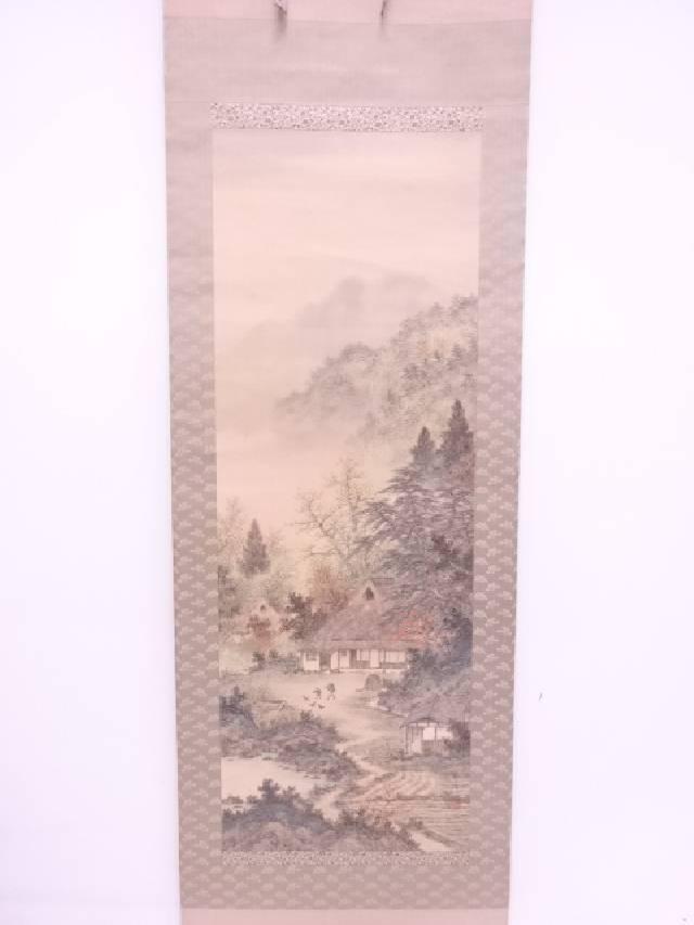【IDN】 日本画 作家物 家屋風景 肉筆絹本掛軸(無地箱)【中古】【道】