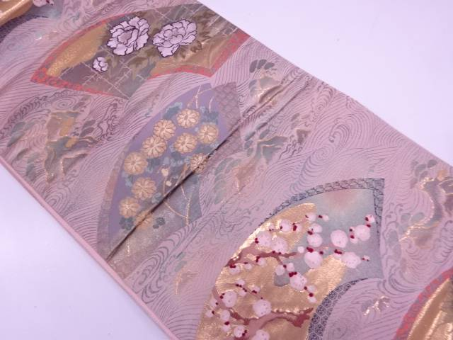 【IDN】 純金箔宗達松島地紙散らし織出し袋帯【リサイクル】【中古】【着】