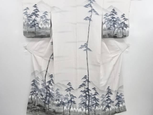 【IDN】 作家物 手描き遠山に樹木風景模様訪問着【リサイクル】【中古】【着】
