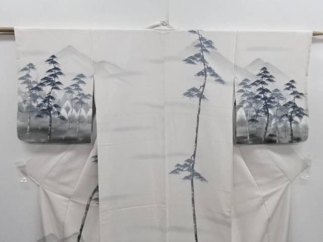 IDN作家物 手描き遠山に樹木風景模様訪問着 リサイクル着EDIH29