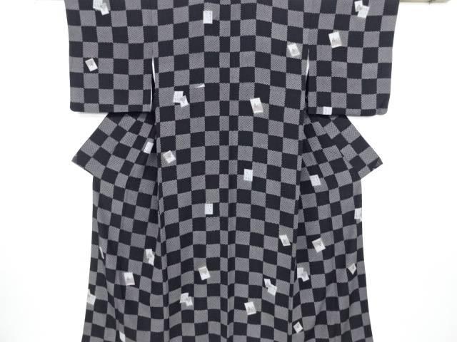【IDN】 疋田市松に百人一首模様小紋着物【リサイクル】【中古】【着】