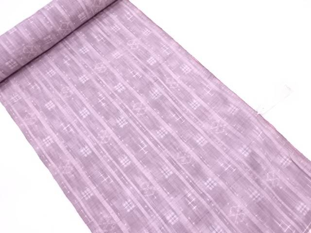 【IDN】 B反 手織紬縞に絵絣模様織出し着尺反物(1250センチ)【リサイクル】【中古】【着】