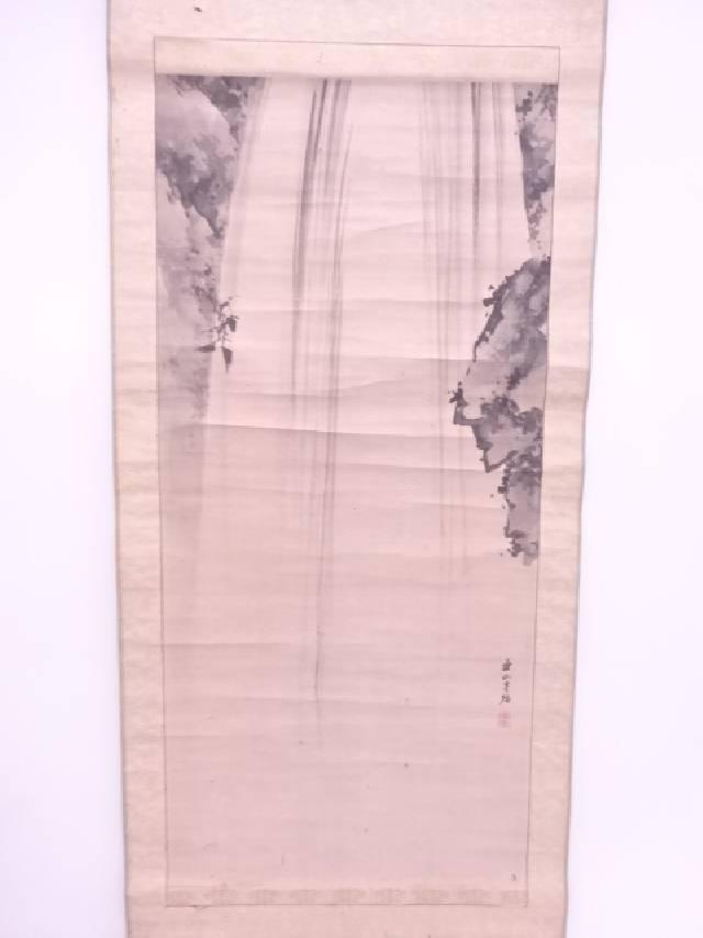 【IDN】 日本画 連山筆 養老滝 肉筆紙本掛軸(共箱)【中古】【道】