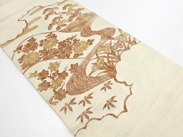 【IDN】 手織り紬遠山に菖蒲菊模様織出袋帯【リサイクル】【中古】【着】