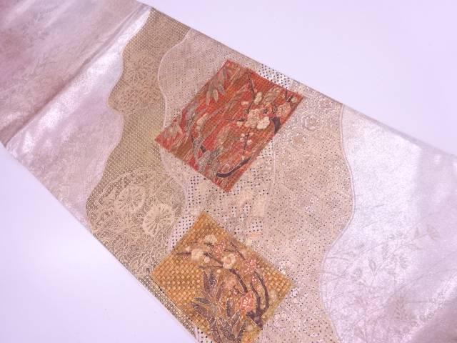 【IDN】 未使用品 金彩汕頭相良刺繍色紙に雪輪・松梅模様袋帯【リサイクル】【着】