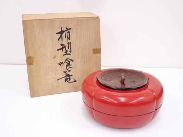 【IDN】 漆塗柿型喰籠【中古】【道】