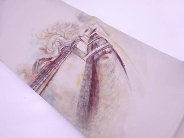 【IDN】 作家物 塩瀬手描き水路模様名古屋帯【リサイクル】【中古】【着】