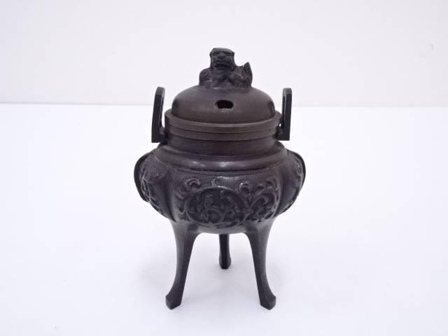 【IDN】 鋳銅唐草文香炉【中古】【道】