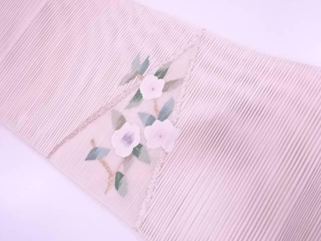 【IDN】 絽綴れ椿模様織出し名古屋帯【リサイクル】【中古】【着】
