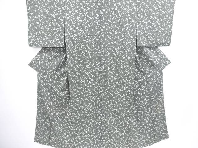 【IDN】 岩井友見 縮緬地桜に扇模様一つ紋小紋着物【リサイクル】【中古】【着】