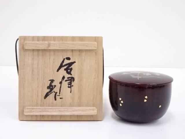 【IDN】 池田安津子造 溜塗草花蒔絵薄茶器【中古】【道】