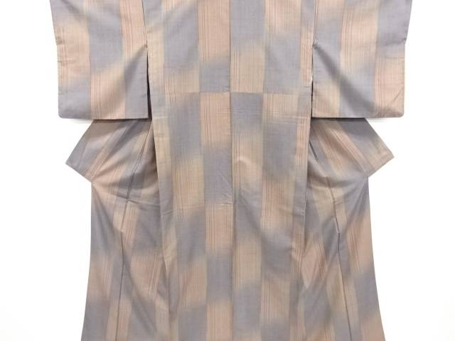 【IDN】 変わり市松に縞模様織出手織り紬着物【リサイクル】【中古】【着】