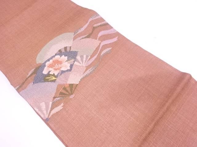 【IDN】 未使用品  紗 すくい織扇に牡丹模様織出し袋帯【リサイクル】【着】
