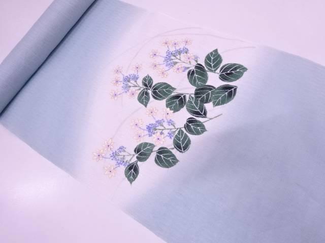 【IDN】 絽本麻手描き草花模様名古屋帯地反物【新品】【着】