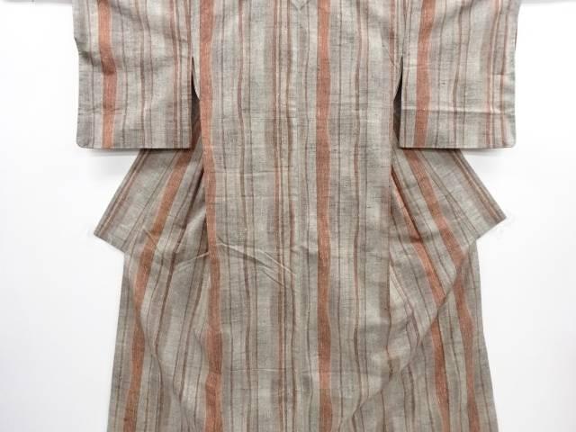 【IDN】 未使用品 縞織出手織り真綿紬着物【リサイクル】【着】