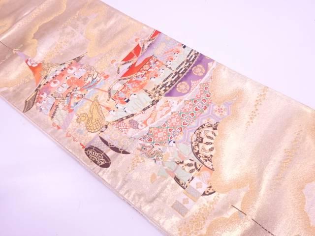 【IDN】 雲に山鉾・人物模様織出し袋帯【リサイクル】【中古】【着】