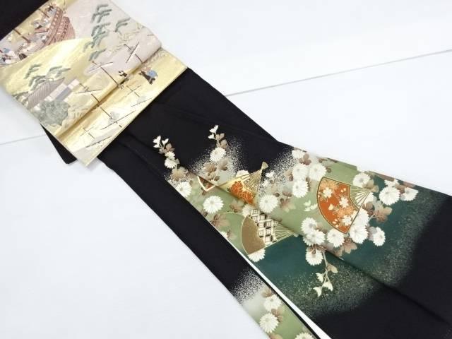 【IDN】 菊に扇模様刺繍留袖(比翼付き) 純金箔袋帯セット【リサイクル】【中古】【着】