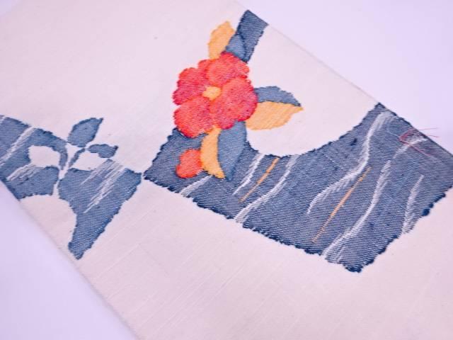 【IDN】 未使用品 手織り真綿紬草花模様織出し名古屋帯【リサイクル】【着】