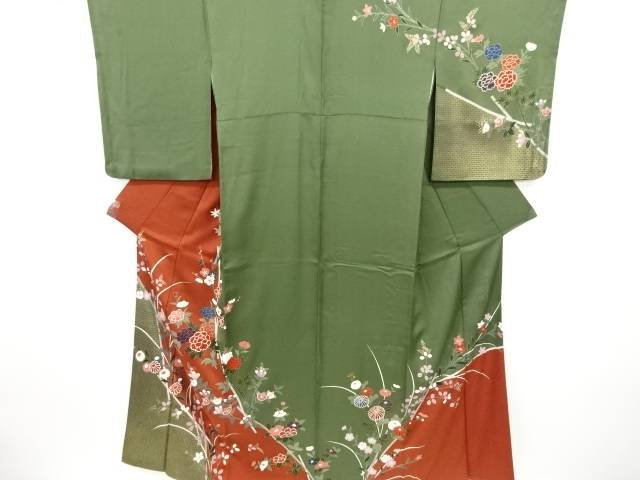 【IDN】 作家物 金彩牡丹に菊撫子模様訪問着【リサイクル】【中古】【着】