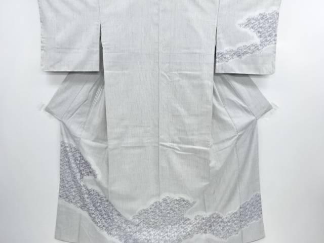 【IDN】 型絵染雲取りに抽象模様手織り節紬訪問着【リサイクル】【中古】【着】