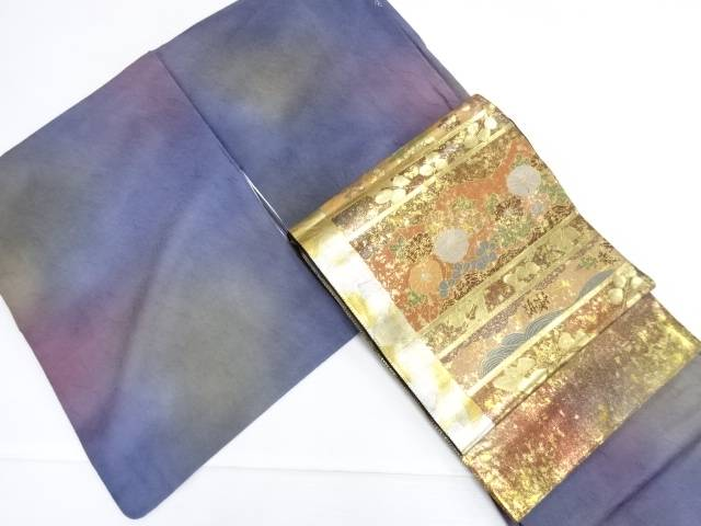 【IDN】 横山優 和紙暈し一つ紋色無地着物 引箔螺鈿袋帯セット【リサイクル】【中古】【着】