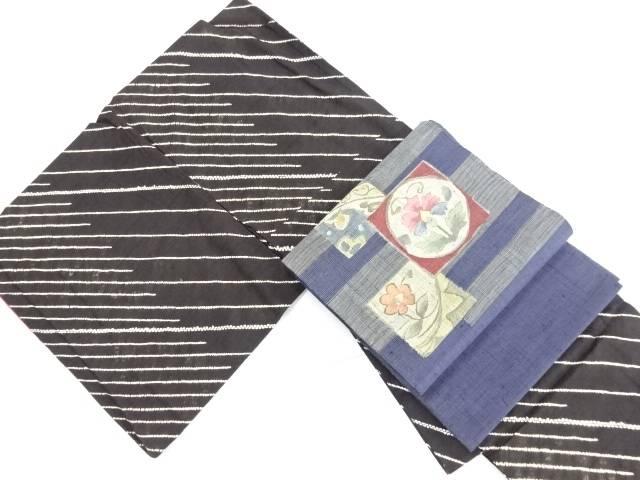 【IDN】 絞り泥染手織り節紬斜め縞模様着物・紬袋帯セット【リサイクル】【中古】【着】