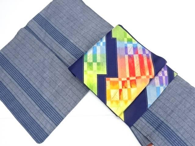 【IDN】 縞織り出し手織り真綿紬着物・名古屋帯セット【リサイクル】【中古】【着】