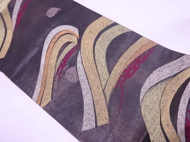 【IDN】 未使用品 引箔変わり笠松に松ぼっくり模様織出し袋帯【リサイクル】【着】
