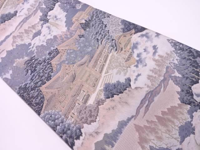 【IDN】 萬葉製 寺院風景模様織出し全通袋帯【リサイクル】【中古】【着】