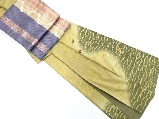 【IDN】 金彩芝草に梅笹模様刺繍訪問着・袋帯セット【リサイクル】【中古】【着】
