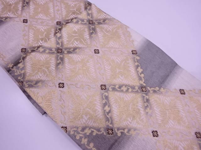 【IDN】 未使用品 菱に若松模様織出しリバーシブル袋帯【リサイクル】【着】