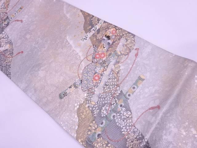 【IDN】 横笛に花模様織出し袋帯【リサイクル】【中古】【着】