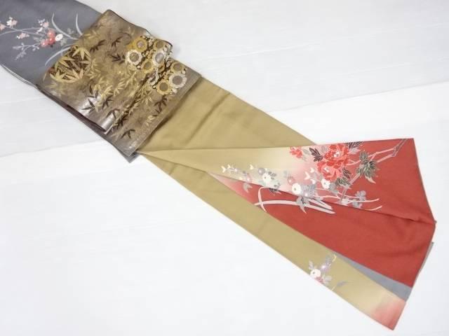 【IDN】 手描き友禅牡丹・梅・菊模様訪問着・袋帯セット【リサイクル】【中古】【着】