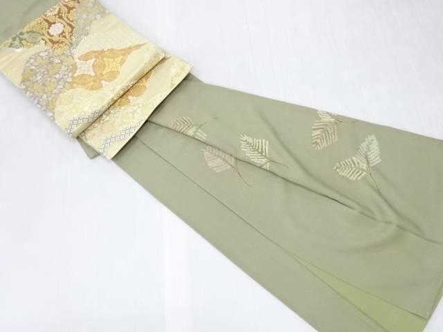 【IDN】 金彩絞り枝葉模様一つ紋訪問着・袋帯セット【リサイクル】【中古】【着】