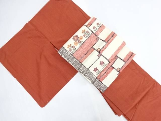 【IDN】 手織り真綿紬着物・名古屋帯セット【リサイクル】【中古】【着】
