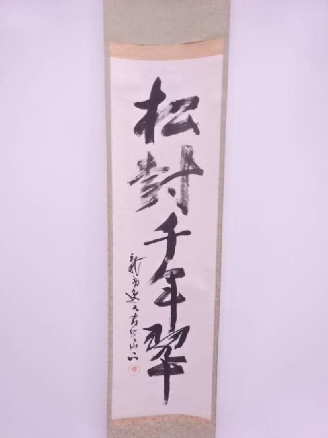 【IDN】 書画 作家物 松樹千年翠 肉筆紙本掛軸(共箱)【中古】【道】