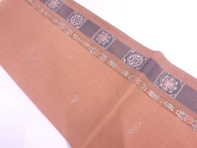 【IDN】 相良刺繍縞に草花模様袋帯【リサイクル】【中古】【着】