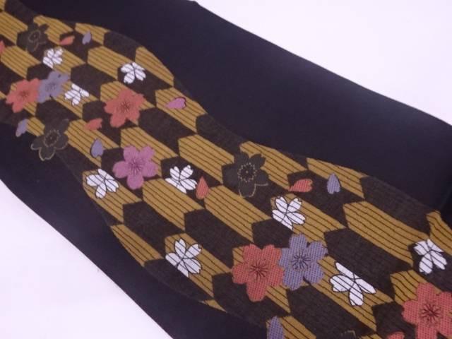 【IDN】 未使用品 廣部商事製 金彩螺鈿モール桜模様織出し全通袋帯【リサイクル】【着】