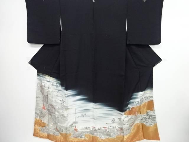 【IDN】 寿光織京風景祭り模様織り出し留袖(比翼付き)【リサイクル】【中古】【着】