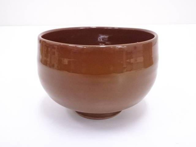 【IDN】 小山岑一造 柿釉茶碗【中古】【道】