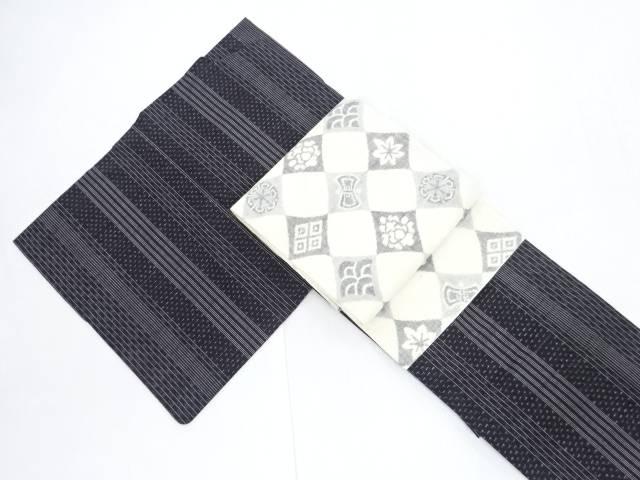 【IDN】 縞に十字絣織出手織り真綿紬着物・名古屋帯セット【リサイクル】【中古】【着】